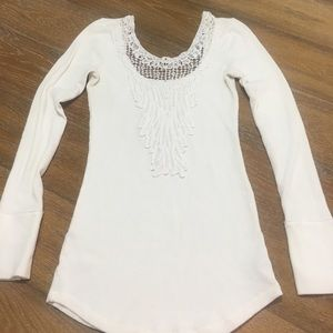 Free people lace neckline long sleeve